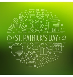 St patricks day line icons set in circle shape vector