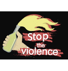 Stop the violence logo on black vector