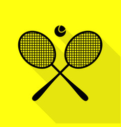 Tennis racket sign black icon with flat style vector