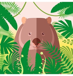 Wombat on the jungle background vector