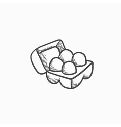 Eggs in carton package sketch icon vector