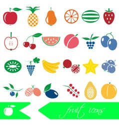 color fruit theme simple icons set eps10 vector image