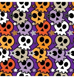 Seamless colorful background with skulls vector