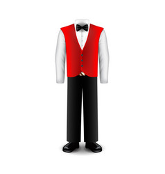 Waiter uniform isolated on white vector