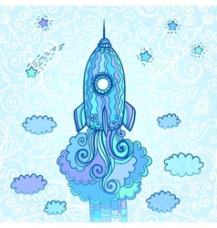 ornate doodles rocket starting to space vector image