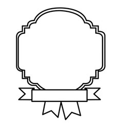 silhouette border heraldic decorative with ribbon vector image