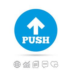 Push sign icon press arrow symbol vector