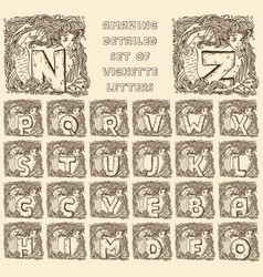 Vintage marine alphabet - engraved letters in vector