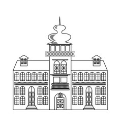 Old castle monochrome drawing architectur sketch vector