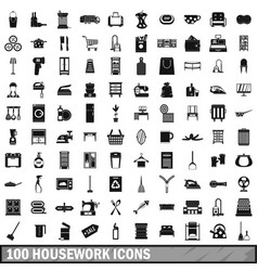 100 housework icons set simple style vector