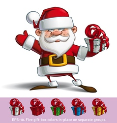 Happy Santa Salute with a Gifts vector image