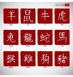 Zodiac symbols calligraphy on red background vector