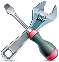 Screwdriver and adjustable wrench realistic vector