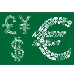 Dollar euro pound and yen signs vector