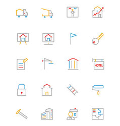 Real estate colored line icons 3 vector