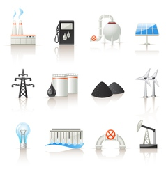 Power industry icon set vector