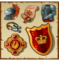 Knight set uniforms and symbols vector