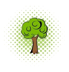 Green tree comics icon vector