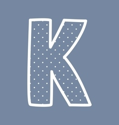 K alphabet letter with white polka dots on blue vector