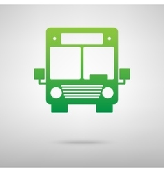 Bus icon green icon with shadow vector
