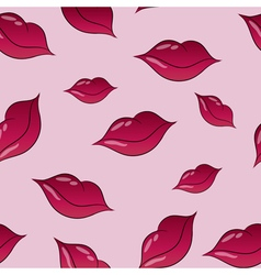 Seamless lips pattern over pink vector