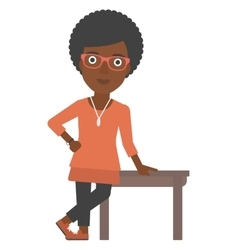 Woman leaning on table vector