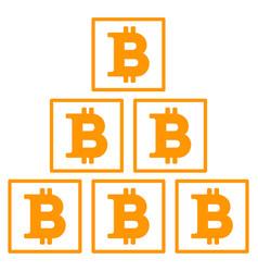 Bitcoin pyramid flat icon vector