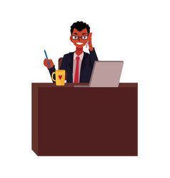 black african businessman working at office table vector image vector image