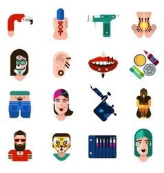 Bodyart tattoo piercing icons set vector