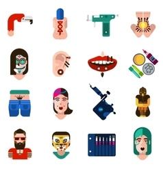Bodyart tattoo piercing icons set vector