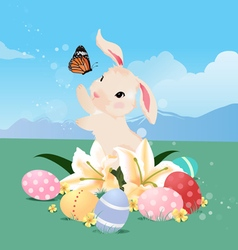 Bunny rabbit playing with butterfly and Easter egg vector image