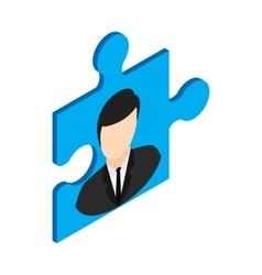 Businessman in a puzzle piece icon vector image