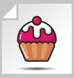 cakes muffins sweets icons 4 vector image vector image
