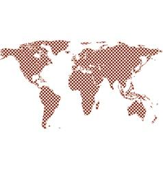 Checkered world map vector image vector image