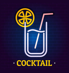 cocktail signboard logo flat style vector image