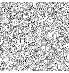 Coffee doodles seamless pattern vector image vector image