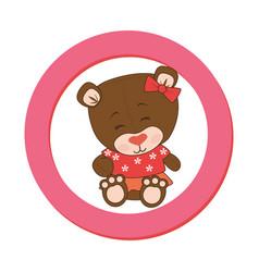 Color circular frame with female teddy bear vector