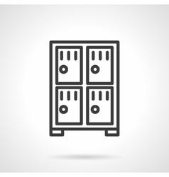 Four lockers black line icon vector