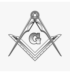 Freemasonry emblem logo with g great architect vector