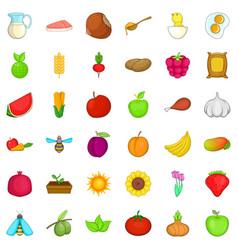 Green food icons set cartoon style vector