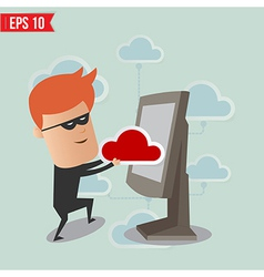 Hacker hack cloud network for computer security vector image
