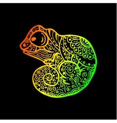 hand drawn doodle chameleon rainbow gradient vector image