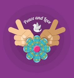 hand symbol peace and love symbol hippie concept vector image