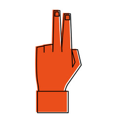 Hand with two fingers up icon image vector