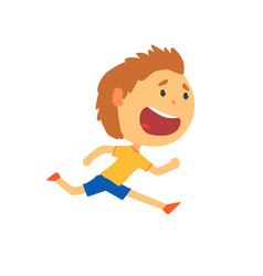 happy boy running kids physical activity cartoon vector image vector image