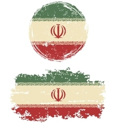 Iranian round and square grunge flags vector