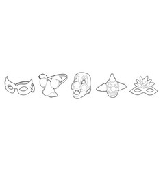 mask icon set outline style vector image