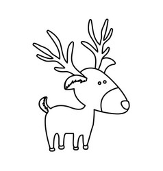 Monochrome contour of caricature reindeer stand vector