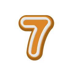 number 7 gingerbread font peppermint honey cake vector image