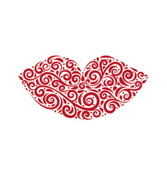 ornamental stylized lips vector image vector image